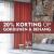 Van 28 oktober t/m 9 november 20% korting op gordijnen & behang vraag naar de voorwaarden in de winkel.